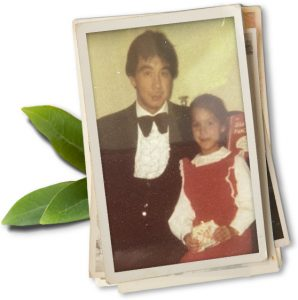 Childhood photo of Jennifer Lee with her father